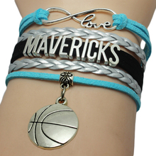 Infinity Love Mavericks Football Team Bracelet Blue Black Silver White Customize Sports wristband  Baseball Charm Bracelets