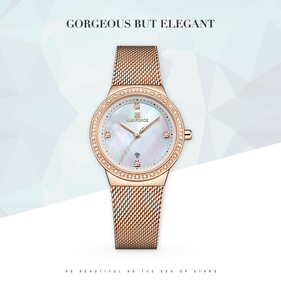 NAVIFORCE New Rose Gold Women Watch Business Quartz Watch Ladies Top Brand Luxury Female Wrist Watch Girl Clock Relogio Feminin (1)