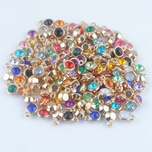 (150pcs/lot) mixed Birthstone charms 11mm Acrylic gold pendant for Diy Personalized Necklace and Bracelet Free shipping XY160419