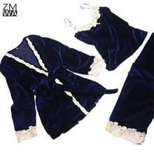 Autumn Winter Women Flannel Pajamas Set 3 pieces pajamas sets lace floral velvet Flannel Women's Sexy Lace Sling Shorts Sut(China)
