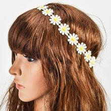 Chic Sunshine Flower Boho Women Girl Elastic Headband Head band Festival Wedding(China)