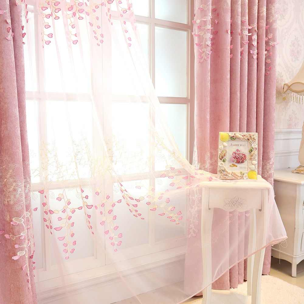 Chenille Floral Embossed Pink Curtain Tulle for Bedroom Living Room Embroidery Blackout Curtain Drape Window Treatment wp189&3