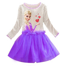 2017 Brand Kids Baby Girls Princess Dress Elsa's and Anna's girl dresses princess elsa anna patterns dress Girls party dress(China)