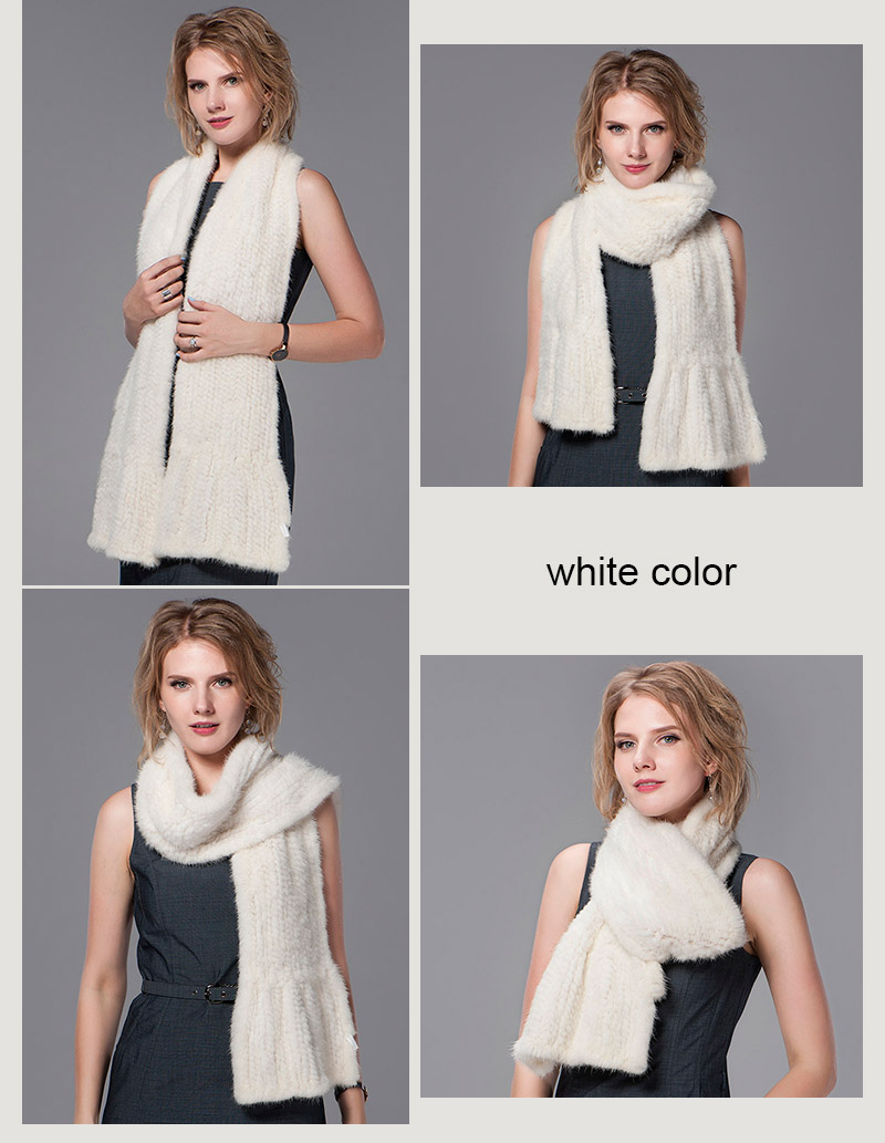 color white mink fur scarf