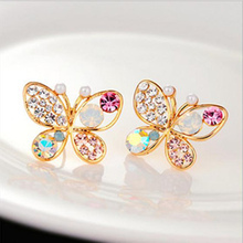 Brincos Sale Trendy Women Animal Jewelry 2016 New Fashion Luxury Hollow Shiny Colorful Crystal Pear Bowknot Stud Earrings E32