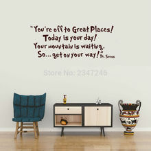 Art Quotes Wall Decal You Are Off to Great Places Removable Vinyl Lettering Sticker for Room Decoration