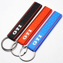 Cool Silicone GTI Logo Emblem Badge Car Keychain Key Ring for VW Golf MK2 MK3 MK4 MK5 MK6 MK7 Polo Car Styling Auto Accessories