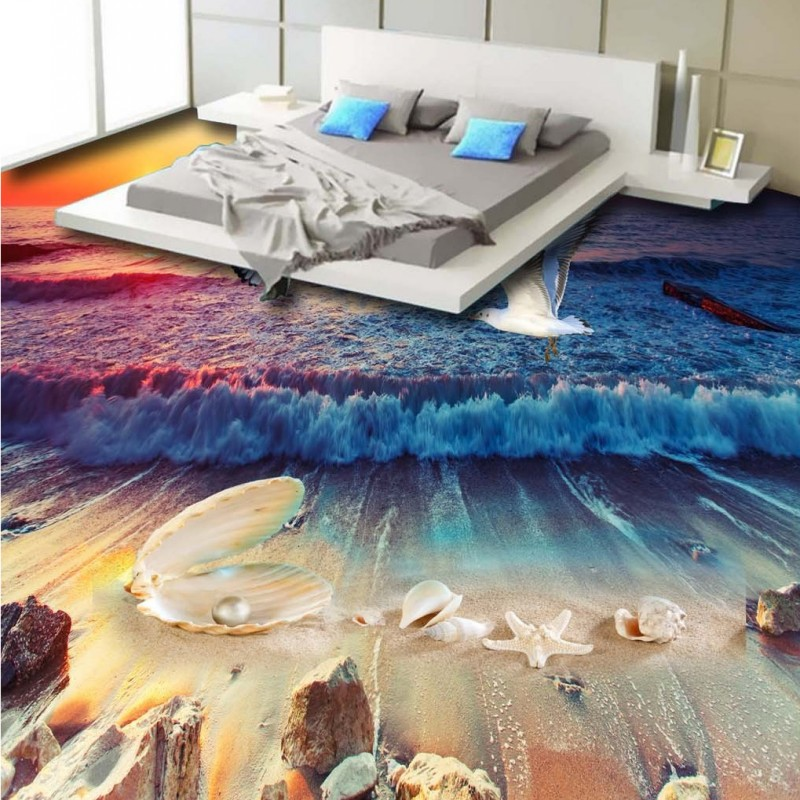 Free Shipping Beautiful beach shell pearl conch 3D flooring painting kitchen living room floor wallpaper mural<br>