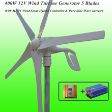 Great Discount 5 Blades 400W 12V Wind Turbine Generator With MPPT Wind Solar Hybrid Controller & 1KW Pure Sine Wave Inverter