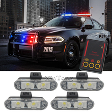 MZORANGE Hot sale 4X2 Ambulance Police light 2 LED DC 12V led Warning light 8W Car Truck Light Flashing Firemen Lights Red Blue(China)
