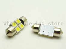 10pcs wholesale Car Interior 31mm White 5050 SMD 4 LED iFestoon Dome Map Light instrument Bulb 12V reading light door lamps(China)