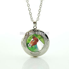 Art picture glass dome  locket pendant Leisure series essential hottest animal jewelry horse morocco fashion jewelry N 979