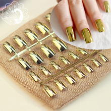 24pcs Sexy Metallic Nail Tips Acrylic Mirror Surface False Nails Long Size Gold Color in Simple Package(China)