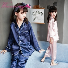 Children's Comfortable All Seasons Long Sleeved Silk Pajamas Suit Pure Silk Girls Boys Pajamas Baby Air Conditioning Clothes(China)