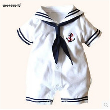 WEONEWORLD 2017 Newborn baby clothes White Navy Sailor uniforms summer baby rompers one-pieces jumpsuit boys girls clothes