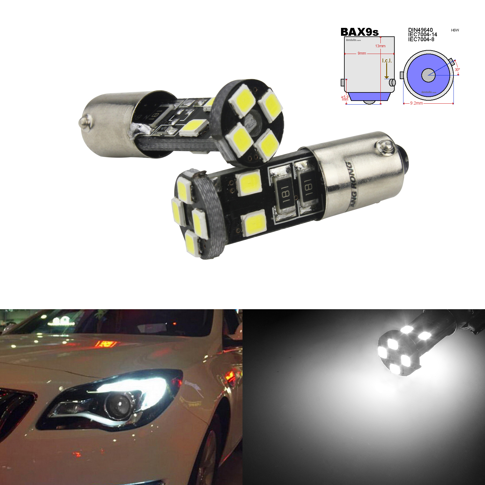 Xenon White 8 LED Sidelight Bulbs H6W For Alfa Romeo 147 Gt 156 166