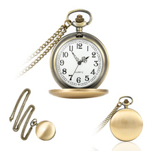 Gold Cloer Pocket Watch Classical Polish Quartz Pocket Watch Necklace Pendant Chain Clock For Men Women Gifts LL@17