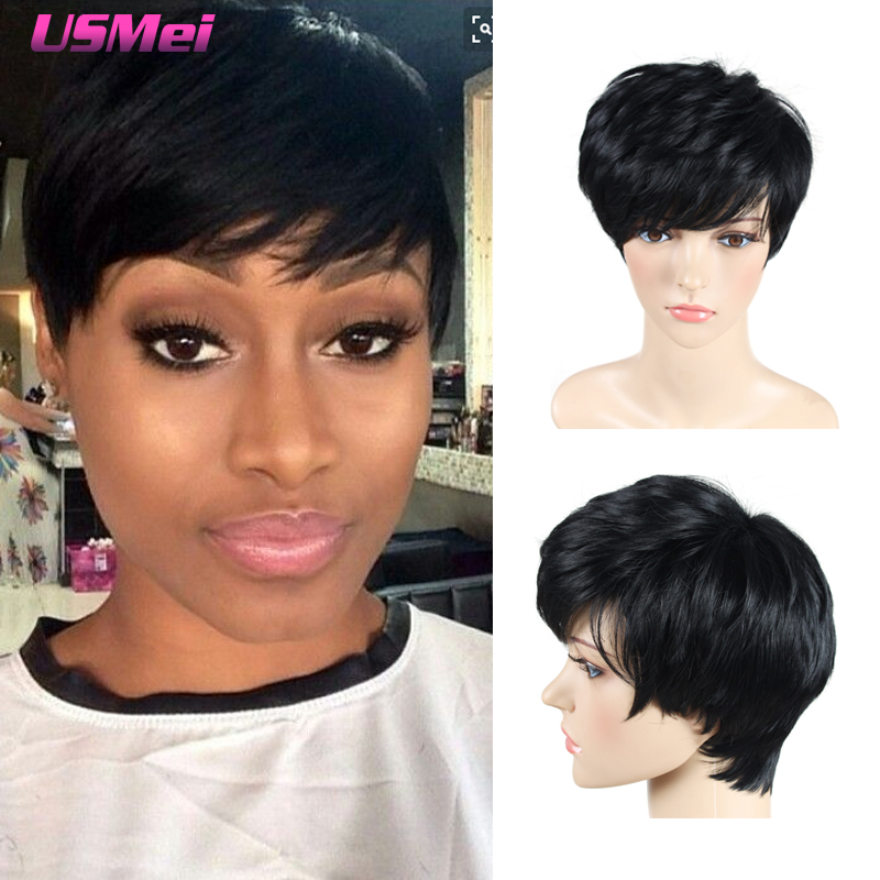 synthetic short wigs for black women black straight hair wig with bangs look as real pixie cut wig cheap wig cheap good quality<br><br>Aliexpress