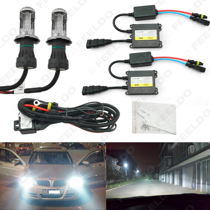 1Sets 35W AC Car Headlight H4 HID Xenon Bulb Hi/Lo Beam Bi-Xenon Bulb Light Digital Slim Ballast HID Kit #FD-4482<br><br>Aliexpress