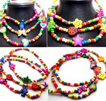 6pcs Wood Beads Lovely Necklaces Girls Princess Party Bag Fillers Children Toys Favours