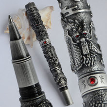 JINHAO WHITE AND ANTIQUE GREY BRUSH FINISH TWO DRAGON PLAY PEARL ROLLER BALL PEN RED CRYSTAL BUSINESS OFFICE BEST GIFT(China)