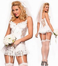 Free Shipping Sexy White Bride Fancy Dress Costume 3F1067 Fancy Costumes For Adults Sexy bride dress