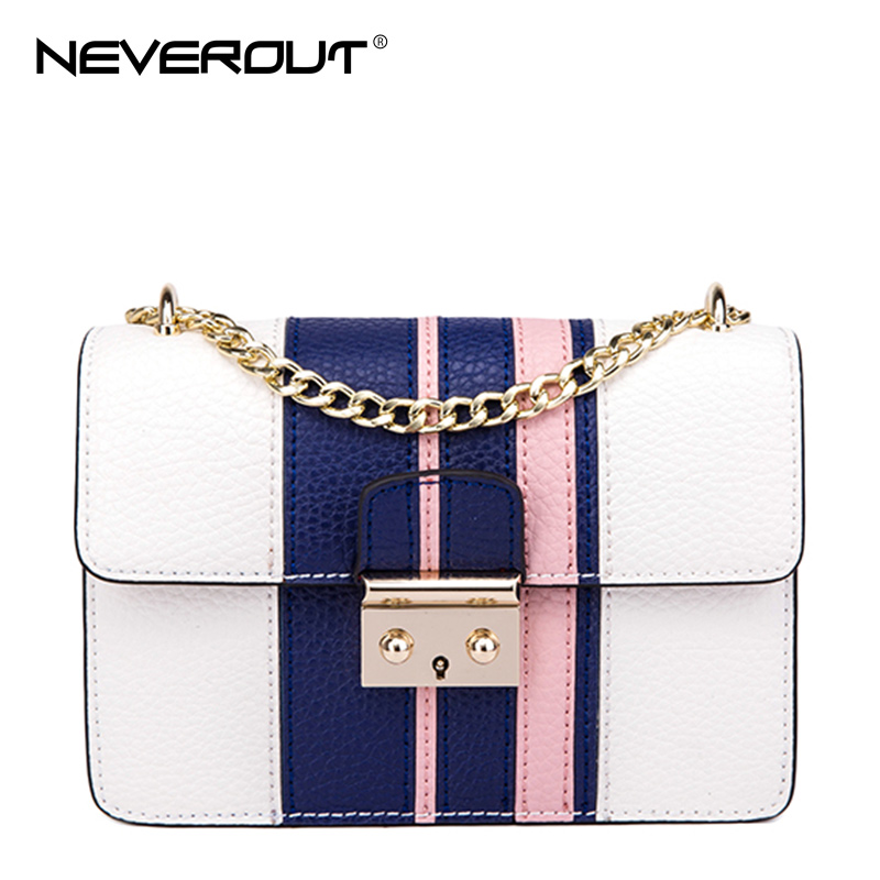 NeverOut 2017 New Arrival 2 Color Women Split Leather Bags Solid Striped Famous Design Messenger Bag Brand Name Shoulder Bag Sac(China)