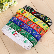 "PPCrafts 7/8"" 22mm High Quality Silver Line Flower Jacquard Ribbon For Hand Sewing Clothing Backpacks Decoration Lace(China)"