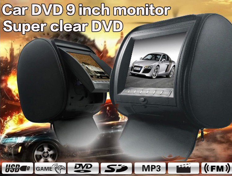 2X 9 HD Digital Car Headrest DVD Player with 32Bit Game+USB+SD+IR/FM transmitter Zipper Cover Black Beige Gray<br><br>Aliexpress