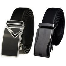 2016 Men Automatic Buckle Waist Strap Belts Leather Black Formal 125cm hot selling DM#6