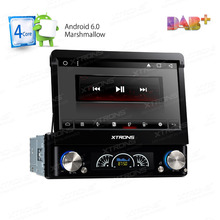 "7"" Detachable Panel Design Quad Core Android 6.0 Single Din Car DVD 1 Din Car Multimedia with Rhythmical/Colorzied LED Display"