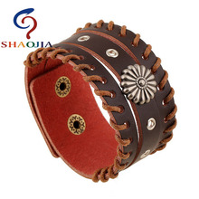 SHAOJIA Sunflower Rivet Design Manual Making Wide Leather Bracelt Unisex Punk Wristbands Bangle Round Alloy Rivet Charm Bracelet(China)