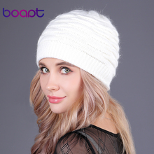 [boapt] soft rabbit double knitting thick bonnet beanie caps solid warm winter hats for women's cap skullies beanies female hat(China)