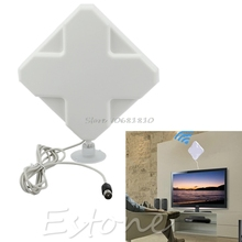 Indoor Long Range Amplified Flat HDTV Antenna VHF UHF Digital Analog TV HD Home #R179T# Drop shipping