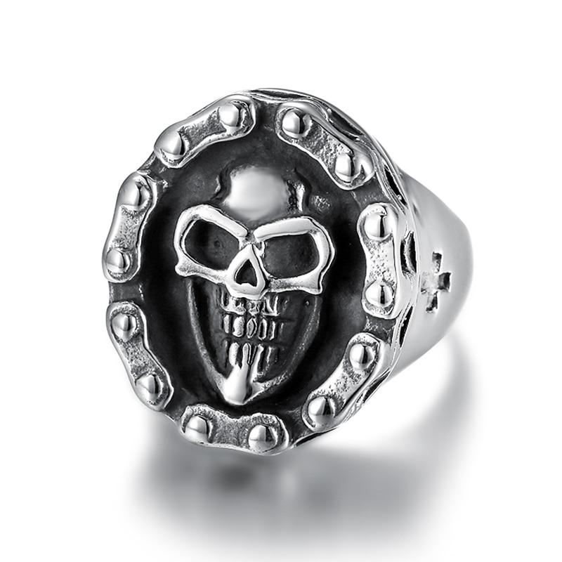 Wholesale custom design punk style 316L stainless steel ring skull biker men ring models for biker men cool boys (1)