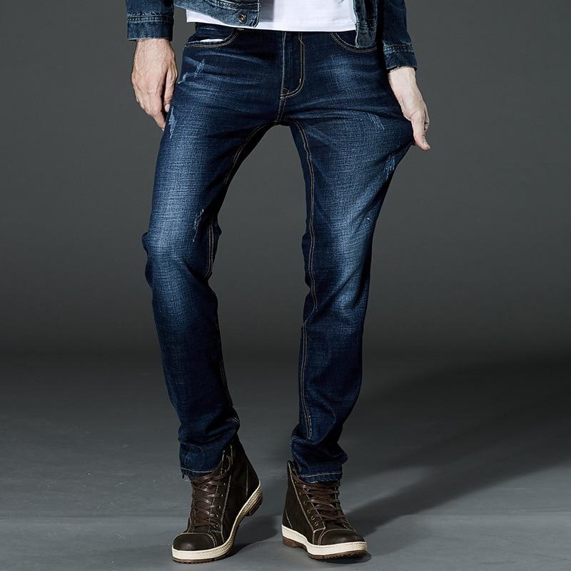 2017 Brand Men Stretch Denim Slim Jeans Black Blue Fashion Trendy Trousers Pants Size  42 For Mens JeanОдежда и ак�е��уары<br><br><br>Aliexpress
