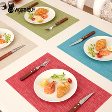 WORTHBUY 4 Pcs/1 Lot PVC Dining Table Mat Non-Slip Waterproof Placemats Disc Bowl Tableware Pads Coaster Kitchen Accessories(China)