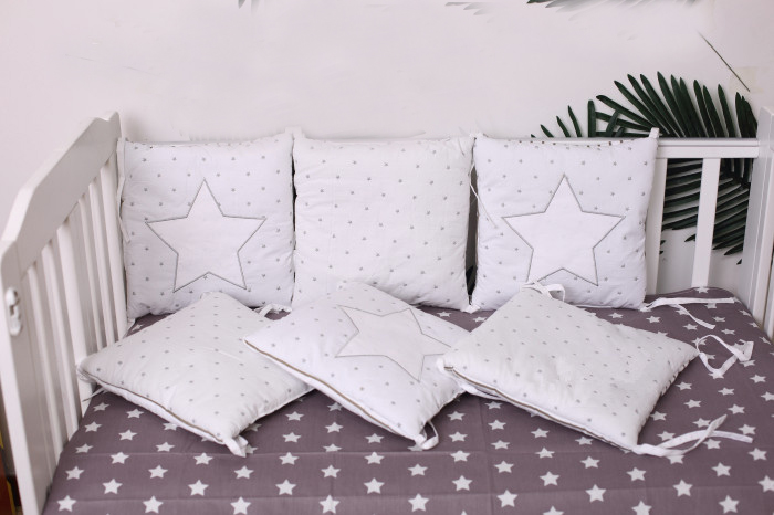 6 -15Pcs/Lot Squqre Cot Bumpers with crib sheets, Grey Star infant crib bumpers bed protecter<br>