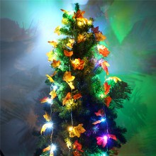 165CM Fall Leaves 10 LED String Light Battery Powered LED Fairy String Light Leaf Hallowmas Christmas Party Decor Lamp DC3V