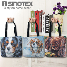 Tote Storage Bags Cavalier King Charles Spaniel Dog Printed Shopping Bag Convenience Shoulder Linen Handbags For Food 1PCS/Lot