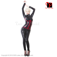 Buy Black Sexy Latex Catsuit Rubber bodystocking Gummi bodysuit Jumpsuit bust trim false corset overall long sleeves plus LT-036