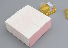 50PCS Pink Lace Printed Backing Food Carton Boxes, Cookies Boxes, Chocolate Packaging Box, Wedding Gift Box for Guest 12*12*5cm