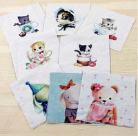 Hand dyed 8 Assorted  Cotton Linen Printed Quilt Fabric For DIY Sewing Patchwork Home Textile Decor 10X10cm cartoon cat/bear