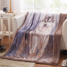 Svetanya 3d Wolf print Blanket double face cashmere plaid 130*160cm super soft blankets(China)