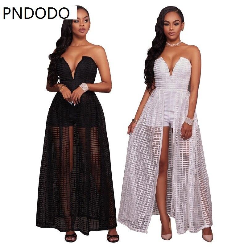 PNDODO Lace Dresses Maxi Dresses Off Shoulder Strapless Vestidos Women Suit Split Long Dress Elegant Hollow Out Club Sexy Dress