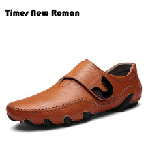 Times New Roman Men's Shoes Handmade Genuine Leather Men Casual Shoes, Fashion Designer Men Leather Shoes, Winter Men Shoes(China)