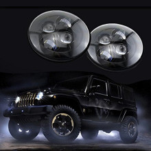 "2pcs X Black Bezel 40W High Power C~REE 7"" Round LED Headlights w/ Dual Low, High Beam For J eep Wrangler, CJ"