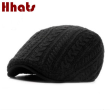 which in shower male winter beret hat crochet men peaked cap high quality knitted flat cap thick warm old men duckbill bones(China)