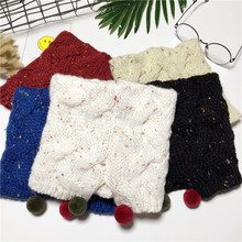 Korean Split Knitted Scarf For Children Snud Lovely Pompom Winter Warm Scarf Collar Girls Knit LICs Boys Stole Baby Ring Scarves(China)