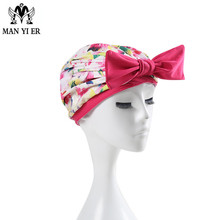 MYE New Women Floral Pink Swimming Cap Pink Printed Swimming cap Bowknot Long Hair for ladies Bathing caps(China)